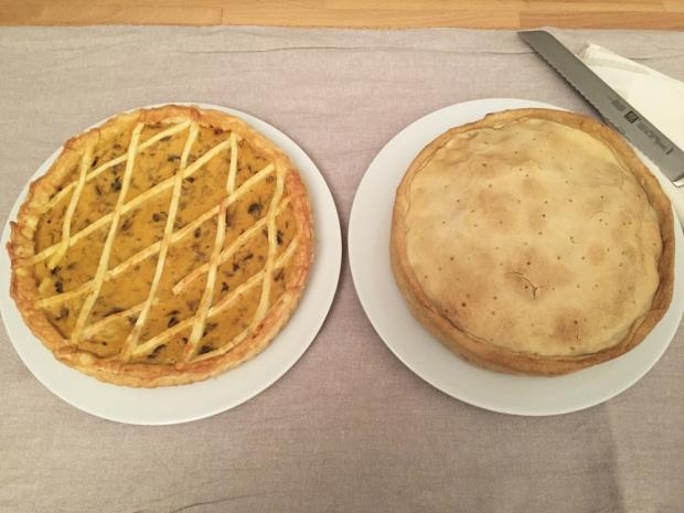 Da sinistra, torta salata di zucca e torta salata di carciofi