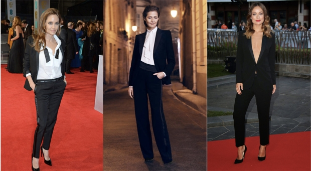 Tre donne, tre stili per indossare lo smoking: Angelina Jolie, Charlotte Ramplig e Olivia Wilde